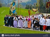 traditional and catholic procession in Bavaria, Germany ...