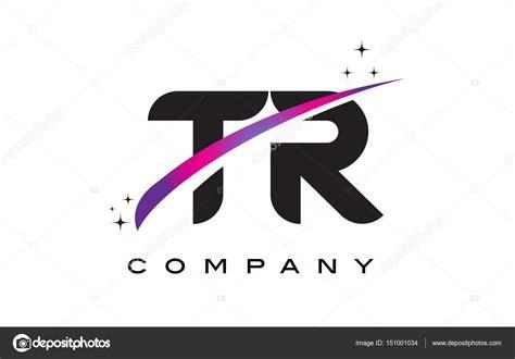 Design De Logotipo Tr T R Letra Preta Com Roxo Magenta