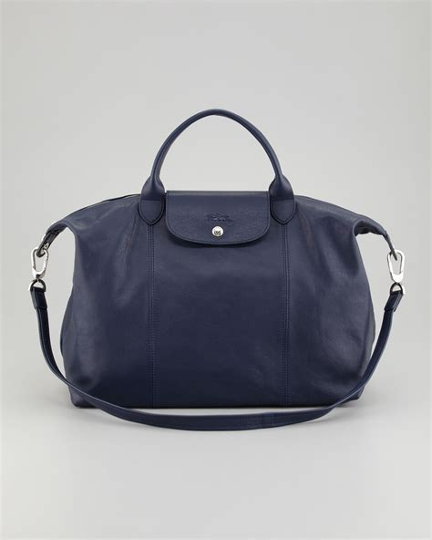 large bag longch le pliage cuir large tote bag in blue lyst