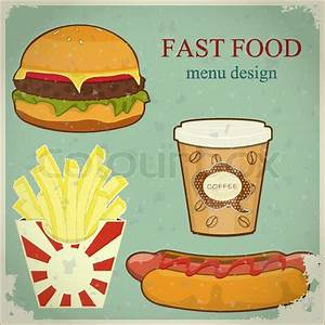 Vintage Fast Food Menu - the food on blue grunge ...