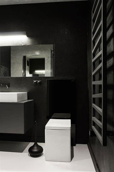 small black  white apartment  poland exudes refined