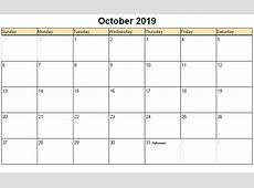 October 2019 Calendar 2018 calendar printable
