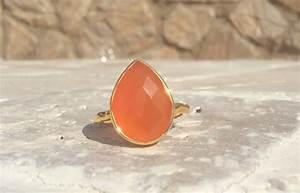 Gemstone Ring Peach Moonstone Pear Stone Cocktail Ring
