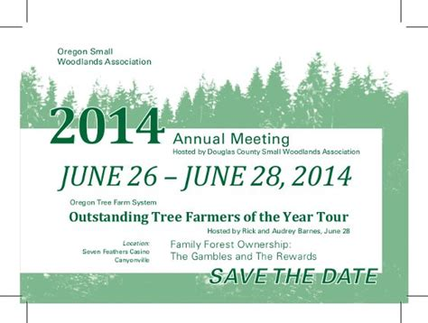 Meeting Save The Date Templates by Oregon Small Woodlands Association Save The Date 2014
