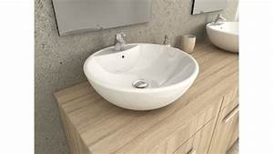 complet meuble salle de bain double vasque ronde chene clair With salle de bain design avec double vasque de salle de bain