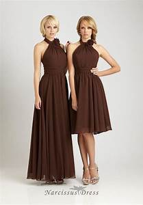 long or short brown chiffon bride39s sister dress halter With brown dresses for wedding