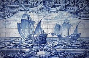 Portuguese Caravelas Azulejo Art Art Print By Tony Silveira