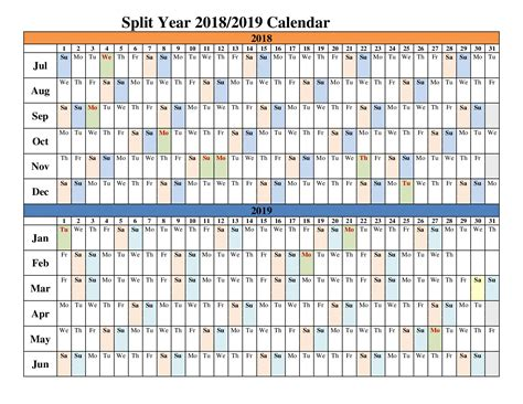2018 2019 academic calendar template 2018 2019 split year calendars blank templates calendar office