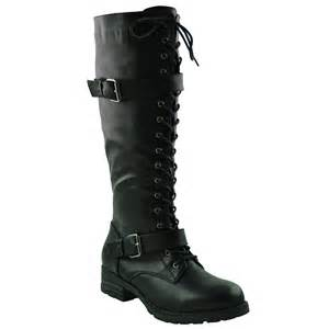 womens boots knee high black womens faux leather lace up combat knee high boots w buckle straps black ebay