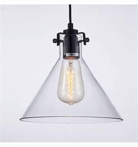 Suspension Verre Transparent : suspension conique transparente design 1xe27 lazio ~ Teatrodelosmanantiales.com Idées de Décoration