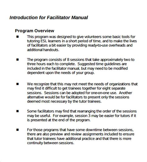 Tutoring Contract Template Uk by 11 Training Manual Sles Pdf Sle Templates