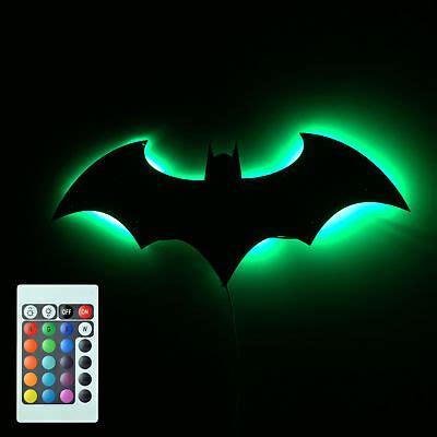 batman logo mirror wall light bat symbol logo led wall l gift ebay