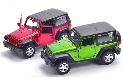 kids red jeep red green 1 43 scale kids diecast jeep wrangler toy