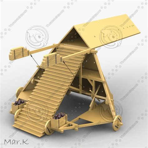 siege vinci 3d leonardo da siege machine model