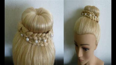 einfache schnelle frisuren mit duttkissendutt mit zoepfendonut hair bun updo hairstyle