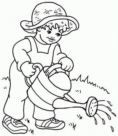 Watering Plants Coloring Kid
