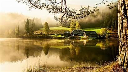 Tenang Pemandangan Pagi Suasana Rumah Country Morning