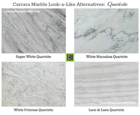 four quartzite countertop colors that look like carrara marble collage kitchen