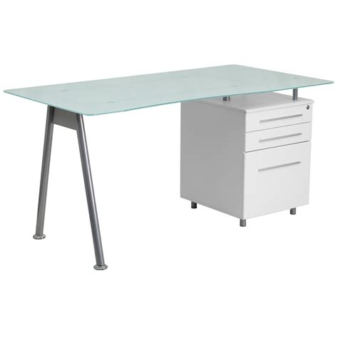 glass top office desk with white computer desk with glass top and three drawer