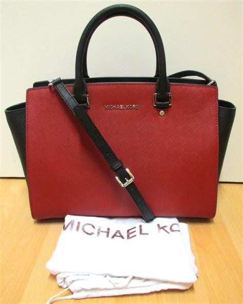 michael kors rote tasche original michael kors selma large leder tasche handtasche rot schwarz catawiki