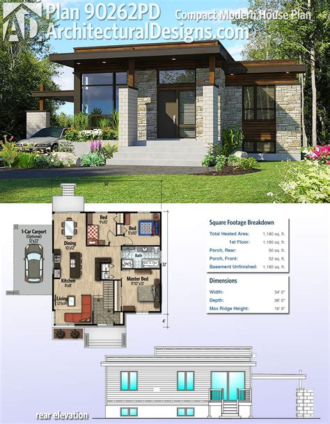 small modern house plans architectural designs compact modern house plan 90262pd