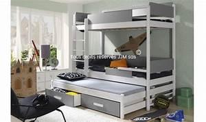 Lit 4 Places : lit superpos en bois blanc quadro 3 places ~ Teatrodelosmanantiales.com Idées de Décoration