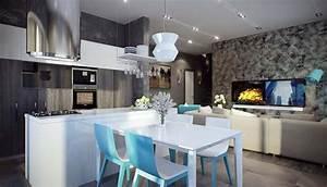 Salle a manger design dans un petit appartement de ville for Petite cuisine équipée avec meuble contemporain salle a manger