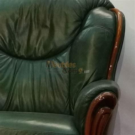 canape d angle rapido canapé stylisé cuir vert bois apparent 3 places n124