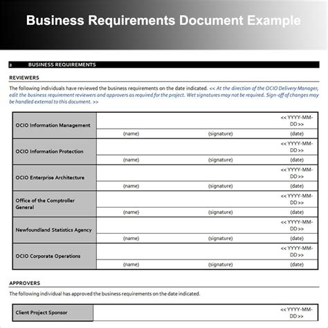 business requirements document examples  examples