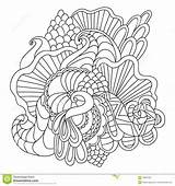 Coloring Pages Vector Adults Nature Drawn Curl Hand Pattern Ornamental Sketchy Doodle Decorative Abstract sketch template