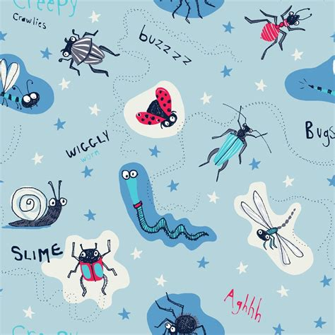 Childrens Animal Wallpaper Uk - arthouse dont bug me insect pattern animal