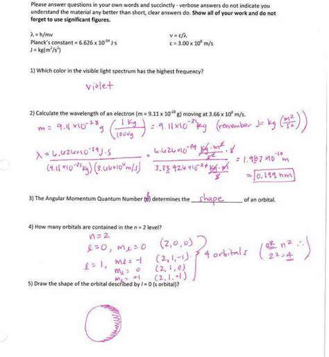 quantum numbers worksheet homeschooldressage