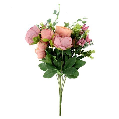 artificial peony silk floral flowers bridal hydrangea