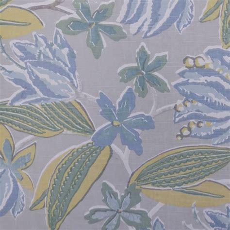 3 yard pods blue grey floral pod cotton drapery