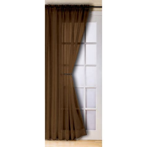 Cafe Curtains For Bathroom by Slot Top Voile Panels Pair Finished In Chocolate Brown