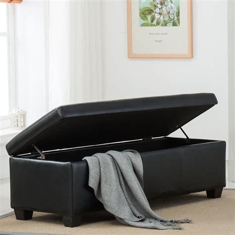 Bench Footstool by Black Faux Leather Storage Foot Rest Sofa Ottoman Bench
