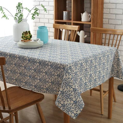 retro blue and white classical table cloth cotton linen rectangular dinning tablecloths home