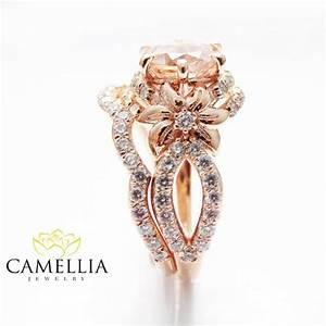 rose gold diamond bridal ring set unique morganite bridal With flower wedding ring set
