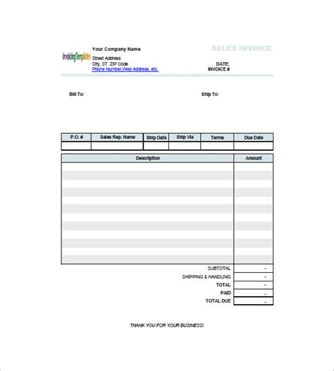 retail invoice template   word excel  format