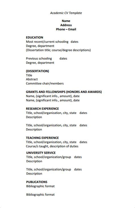sample academic cv templates   ms word
