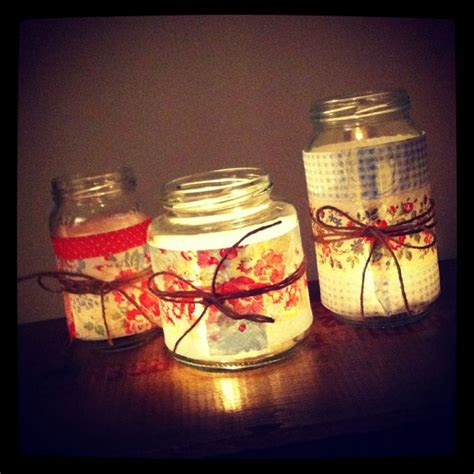 jam jar ideas cute tea lights wrapped  shabby chic