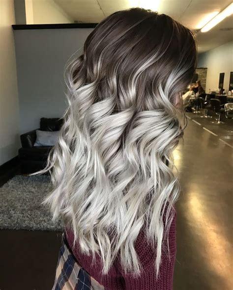 balayage braun grau braun grau haare