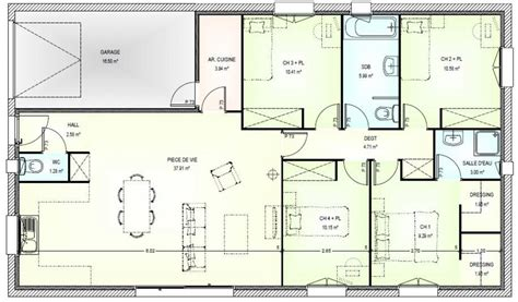 plan maison 100m2 4 chambres plan maison 5 pieces plan maison plans de