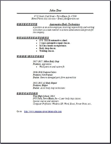 Auto Resume by Auto Technician Resume Occupational Exles