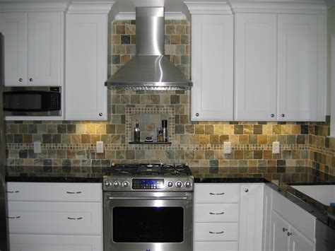 slate tile backsplash kitchen contemporary