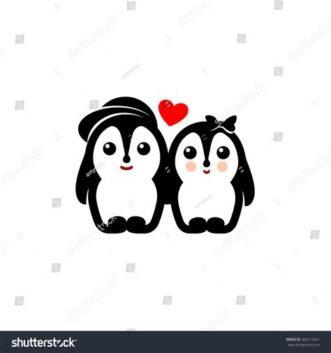 Animal couple b is released! Isolated Vector Penguin Couple Logo Winter Stock Vector ...
