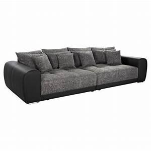 Canapé Droit 5 Places : grand canap droit 39 byouty 39 noir noir 4 places achat ~ Premium-room.com Idées de Décoration