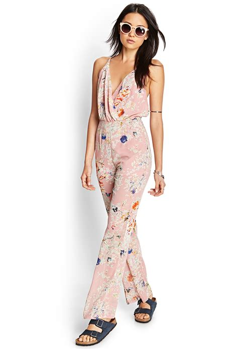 forever 21 retro floral jumpsuit in pink dusty pink multi lyst