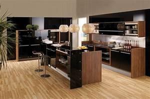 cuisine noire et bois en 42 idees de design d39interieur With cuisine noire et bois