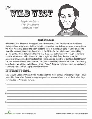 4th grade history worksheets levi strauss worksheet education com